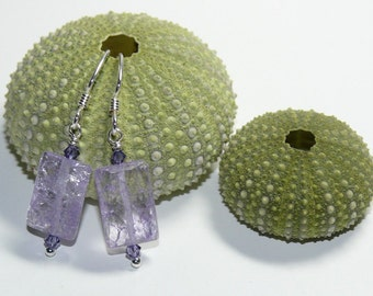 Lilac Cracked Glass Rectangular Bead with Swarovski Crystals Sterling Silver Dangle Earrings