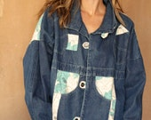 90s patchwork KEITH HARING style blue denim parka JEAN jacket