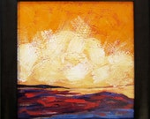 Original Landscape Painting with Orange Sky...Colorful Framed Acrylic Art...Ready to Hang Landscape