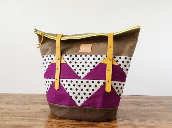 SALE Waxed Canvas Bag - Medium - Polka Dot and purple - Ready to Ship