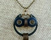 Bicycle Owl Necklace Bronze & Black Steel