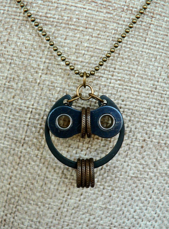 Bicycle Owl Necklace Bronze & Black Steel