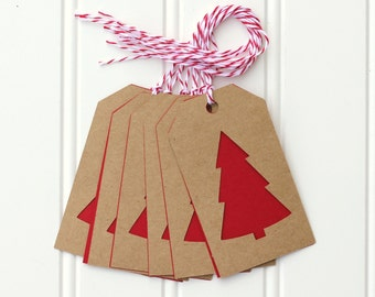 10 Die Cut Christmas Tree Holiday Gift Tags / Favor Tags (3.5 x 2 inches) in Kraft and Red Cardstock with Red & White Baker's Twine