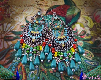 Multi-Colored Bohemian Chandelier Earrings, Beaded Earrings, Turquoise, Yellow, Green, Blue, Magnesite Gemstone, Bronze or Silver, Rainbow