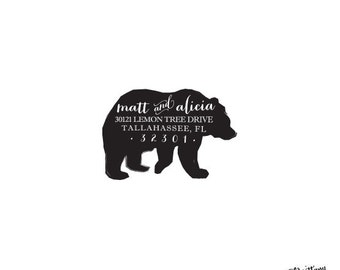 Animal Nature - Personalized Custom Return Address Rubber Stamp or Self Inking - Bear Stamp
