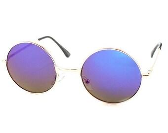 Unisex Round Petrol Blue Mirror Grunge Hipster 90s John Lennon Style Circle Fashion Summer Vacation Festival Sunglasses Birthday Gift
