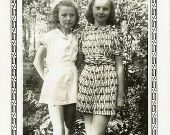 "Vintage Photo ""Teen Girls"" Snapshot Old Photo Antique Black & White Photography Paper Ephemera Collectibles - 50"