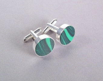 Round Green Cufflinks SHIPS IMMEDIATELY Composite Malachite Handmade Emerald Green Wedding Gifts for Groom Groomsmen Birthday Gifts for Him