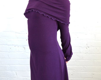 On Sale!!! Small Cowl Neck Dress in Plum Purple