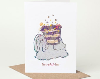 Shih Tzu Card - Tira Shih Tzu (dog birthday card, funny dog card, cute dog card, blank dog card, foodie card, summer dog card)
