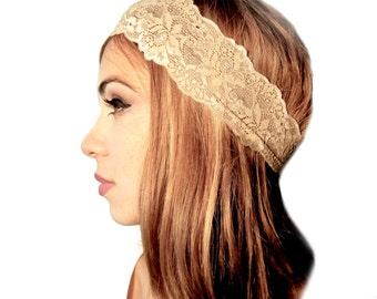 Lace Headband Nude Beige Tan Stretch Boho Chic Head Band Hair Bands Wedding Vintage Navy Blue ShariRose - 102 - 101