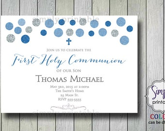 Boys Communion Invite, Baptism Invitation