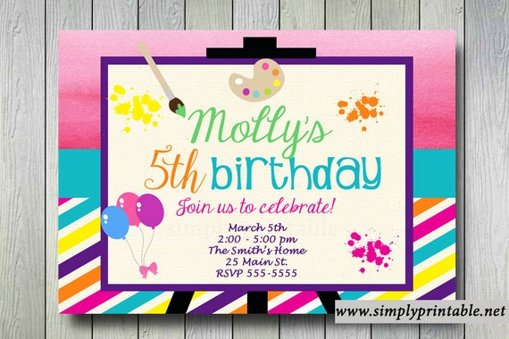 Painting Birthday Invitation, Art and Craft Invite, Ceramics, Digital, Printable