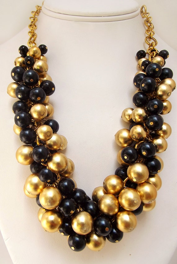 chunky black gold necklace pearl necklace black statement