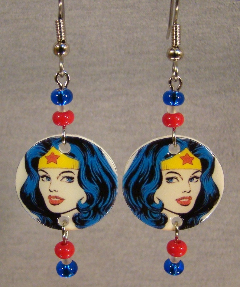 Wonder Woman Dangle Earrings By Afanaffair On Etsy