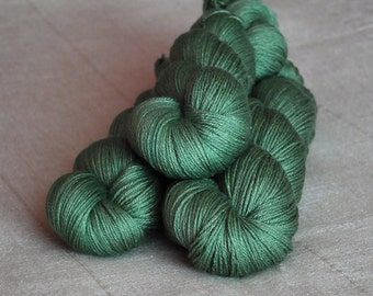 50/50 Superwash Merino/Silk Fingering Weight Yarn Naturally Dyed in 'Spring Green'
