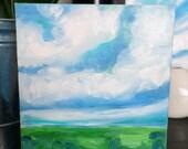 Original landscape painting on canvas // Affordable original oil art painting  // Shelfie size // 6x6 canvas painting