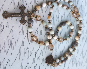 Gorgeous Rosary Beads in Matte Amazonite with Tapaz Swarovski Crystals and Bronze Findings