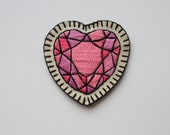 Hand Embroidered Crystal Heart Patch / Brooch. Pink Heart Gem Sew On Patch or Brooch / Pin. Spring 2015 Trends.