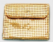 Gold Metal Mesh Coin Purse Whiting & Davis Purse Tiny Small Evening Bag Glitzy Glamorous Credit Card Holder Gold Wedding Bridal sh