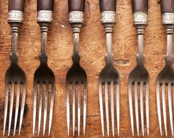 Vintage Set of Twelve Wood Handled Forks and Knives by Landers, Frary & Clark