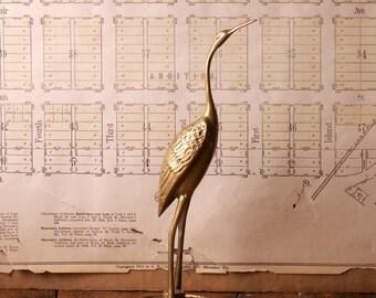 Vintage Tall Brass Water Bird Figurine - Elegant Mid Century Decor