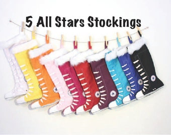 Family Christmas Stocking set of 5  - PICK 5 - all star stockings- 11 colors to choose from