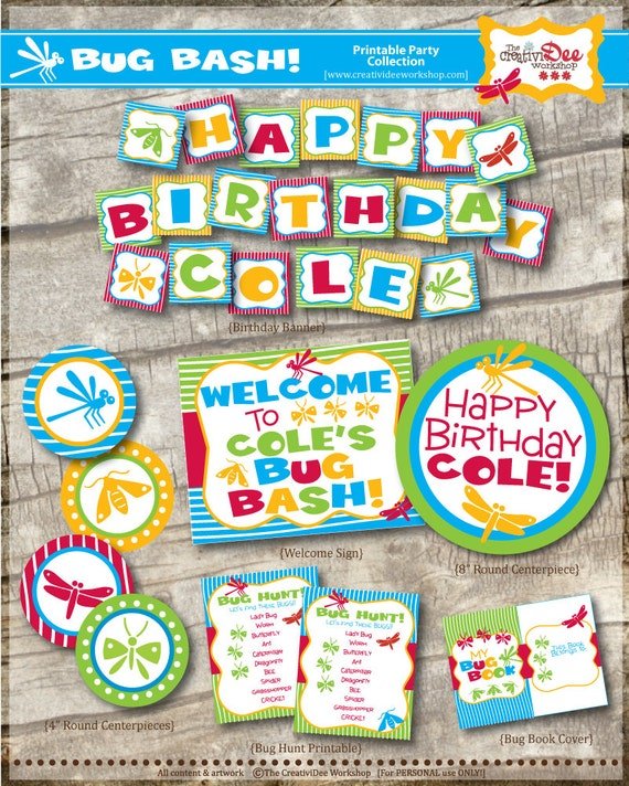 Bug Bash Birthday Party - DIY Printable Party Collection - Insect Party - Bug Party - Digital Party - 40+ Pages