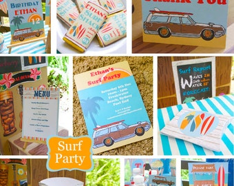 Surf Party - Surf Birthday Party - Printable Kit - INSTANT DOWNLOAD -
