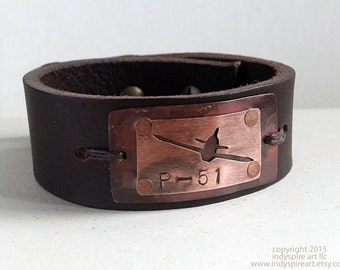 Airplane Men's Bracelet. P-51 Mustang. Conquer the Skies.