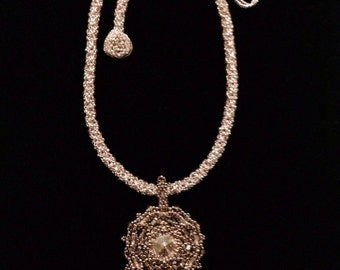 Rose swarovski crystal beadwoven necklace, statement necklace, crystal pendant, beadwork, beadwoven rope, bronze beaded necklace, EBW