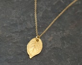 Gold Rose Leaf Rustic Charm Necklace - Dainty Gold Necklace - Leaf Necklace - Layering Necklace - Layered Necklace - Minimalist Jewelry