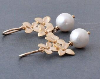 Gold Hydrangea Flower Earrings, White Freshwater Pearl, 14K Gold Filled Hoops, June Birthstone, Wedding Jewelry, Gift Under 30