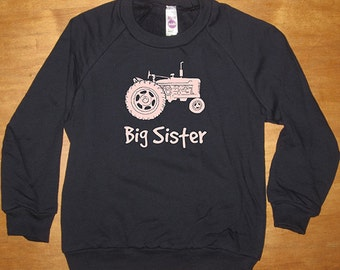 Big Sister Tractor Farming Sweatshirt - Kids Big Sister Shirt - Long Sleeved Shirt Navy Blue - Fleece 2T, 8, 10, 12  - Gift Friendly