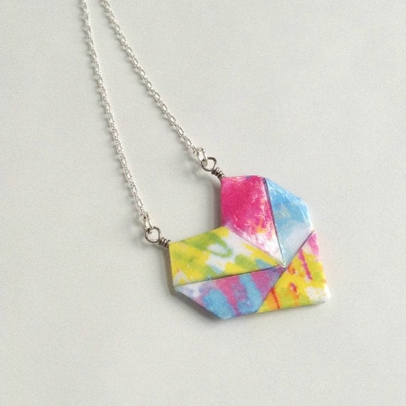 Sweetheart Origami Paper Heart Necklace // Tie-Dye - photo#6