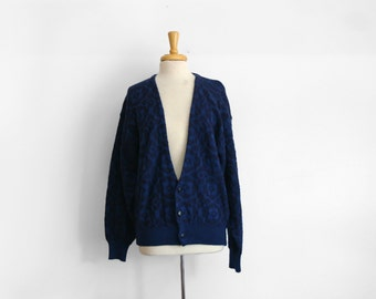 1980s  VALENTINO uomo blue and black sweater long cardigan  Size medium