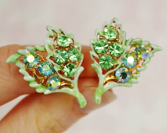 Vintage Clip-On Earrings with Green Rhinestones and Leaves