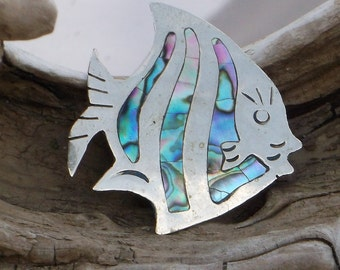 Mexico Abalone Sun Fish Brooch