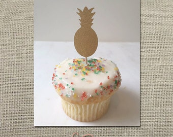 Pineapple Cupcake Topper // Party Pick (Set of 12)