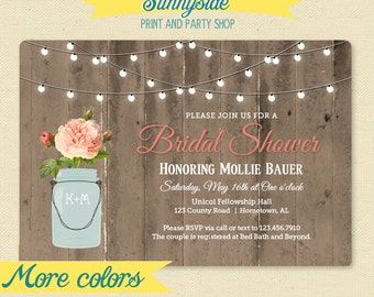 Rustic Mason Jar Shower Invitation - Couple / Bridal / Wedding Shower Invitation - Barnwood & Lights Shower Invite