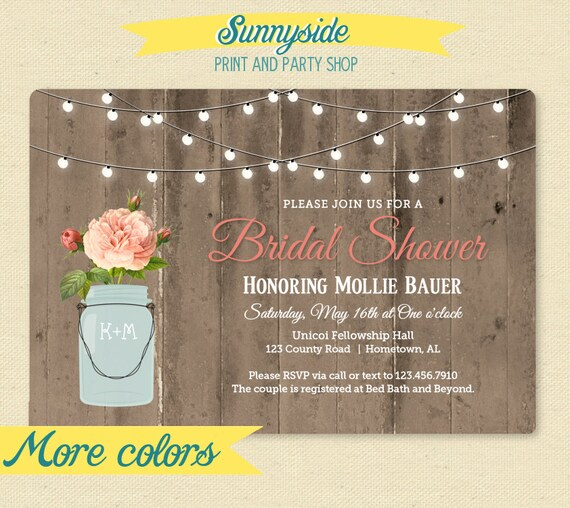 Rustic Mason Jar Shower Invitation