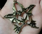 How Metal of You! Antique Look Metal Bat Pentagram Charm Goth Black Metal Rock Occult Halloween