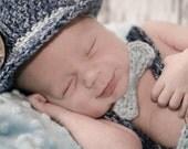 Bringing Baby Home, Newborn Baby Boy Outfit - Fedora with Matching Pants - Denim Blue - Newborn Photo Prop Set - Pork Pie Hat