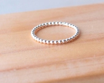Dotty Silver Ring, Bubble Ring Silver, Sterling Silver Band Ring, Stacking Ring, Silver Bead Ring