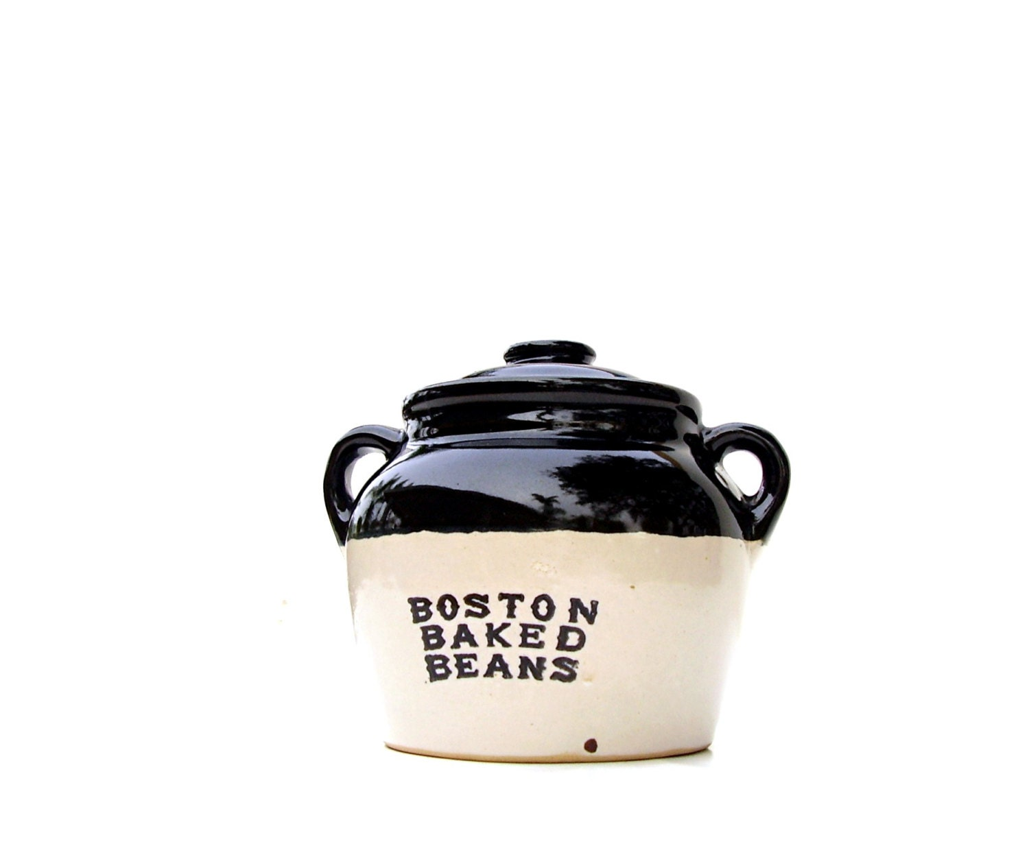 Antique Boston Baked Bean Pot Crock Usa Pottery Black Glaze