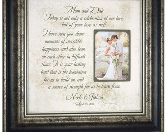 Thank You Gift for Parents, Wedding Gift, Wedding Photo Frame, Today Is a Celebration, Anniversary Photo Frame, Bride Parents Gift, 16 X 16
