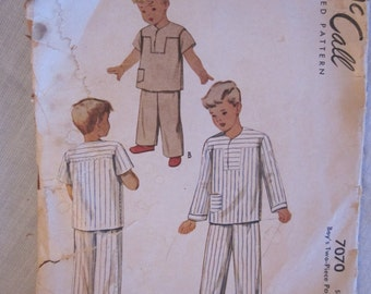 Mccall 7070 Vintage Pattern Boys 2 pc Pajama Pattern, size 6, 1940s or 1950s