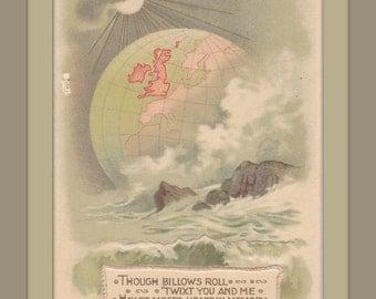 Heart Meets Heart In Memory- 1910s Antique Card- Christmastide- Ocean Waves- Moonlit Globe- Christmas Decor- Paper Ephemera-  Unused