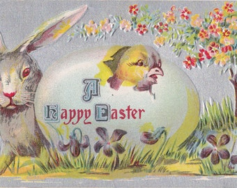 Albino Easter Bunny- 1910s Antique Postcard- White Rabbit- Red Eyes- Chick and Egg- Spring Decor- Old Fashioned- Art Card- Paper Ephemera