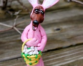 Easter Bunny Dachshund Polymer Clay Sculpture